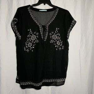 Black see through Blouse w/ white accents